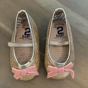 Cotton On Gold Glitter Bow Flats